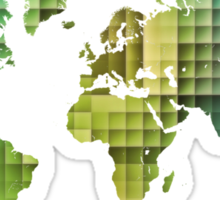 Map of the world green cube Sticker