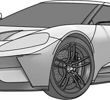 2016 Ford GT, Forza 6 Motorsport Game Cover Car, Black greyscale Fill by Adamasage