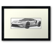 2016 Ford GT, Forza 6 Motorsport Game Cover Car, Black greyscale Fill Framed Print