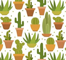 Cactus white pattern by JuliaBadeeva