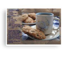 Grandma's Coffee Cookies (recipe) w/ white border Canvas Print