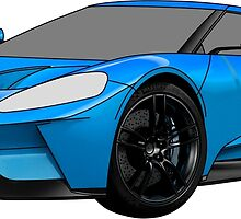 2016 Ford GT, Forza 6 Motorsport Game Cover Car, Black with Blue colour Fill by Adamasage