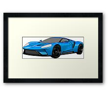 2016 Ford GT, Forza 6 Motorsport Game Cover Car, Black with Blue colour Fill Framed Print