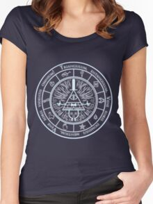 Bill Cipher Gravity Falls Symbols and Incantation  Women's Fitted Scoop T-Shirt