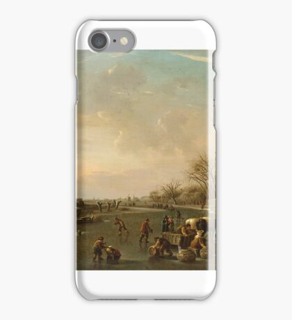 ANDRIES VERMEULEN - WINTER SCENE WITH SKATERS AND A HORSE-DRAWN SLEIGH WITH POULTRY SELLERS c 1810 iPhone Case/Skin