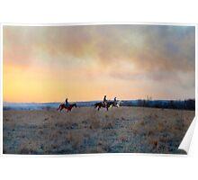 Three Riders in the Flint Hills of Kansas Poster