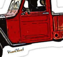 Jeep Pickup Adventure Comic Book Scene Sticker