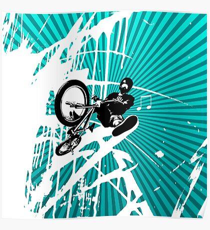 BMX Pop Art Blue Poster