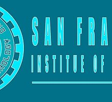 San Fransokyo institute of technology blue neon logo white outline, blue fill by Adamasage