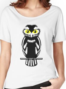 Black and White Owl Women's Relaxed Fit T-Shirt