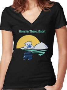 Hang in There, Baby! Women's Fitted V-Neck T-Shirt
