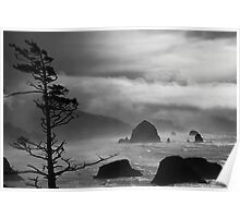A Stormy Day at Cannon Beach - black & white Poster