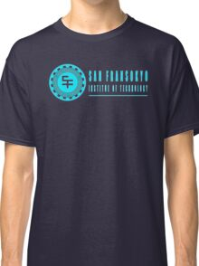 San Fransokyo institute of technology blue neon logo white outline, blue fill Classic T-Shirt