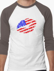 United States kiss flag Men's Baseball ¾ T-Shirt