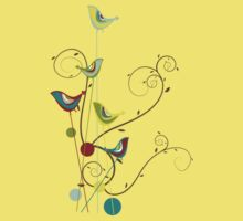 Colorful Whimsical Summer Birds & Swirls Kids Clothes