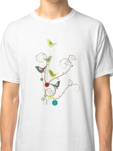 Colorful Whimsical Summer Birds And Swirls Classic T-Shirt