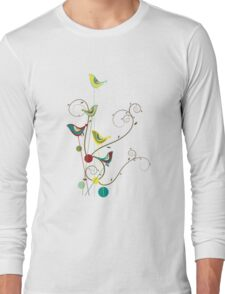 Colorful Whimsical Summer Birds And Swirls Long Sleeve T-Shirt