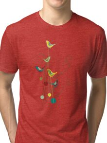 Colorful Whimsical Summer Birds And Swirls Tri-blend T-Shirt