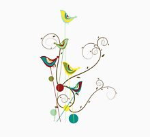Colorful Whimsical Summer Birds & Swirls T-Shirt