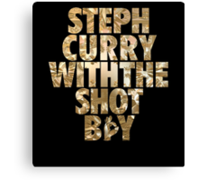 Steph Curry With The Shot Boy Gold Canvas Print