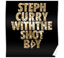 Steph Curry With The Shot Boy Gold Poster