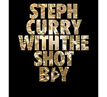 Steph Curry With The Shot Boy Gold Photographic Print