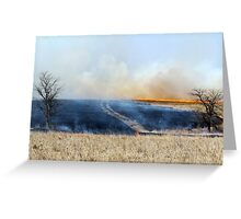 Road Through The Prairie Burn Greeting Card
