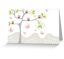 Whimsical Pink Cupcakes Tree Greeting Card