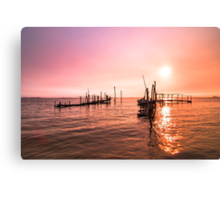 Old dock sunrise Canvas Print