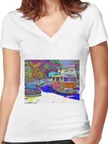 City Scene 1950s Women's Fitted V-Neck T-Shirt