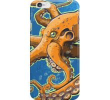 Tangerine Octopus on Blue Background iPhone Case/Skin