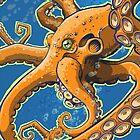 Tangerine Octopus on Blue Background by grosvenordesign