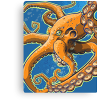 Tangerine Octopus on Blue Background Canvas Print