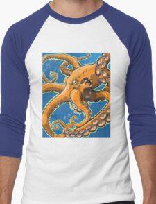 Tangerine Octopus on Blue Background Men's Baseball ¾ T-Shirt
