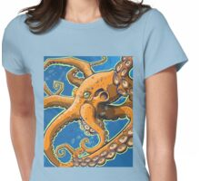 Tangerine Octopus on Blue Background Womens Fitted T-Shirt