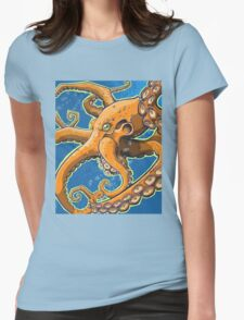Tangerine Octopus on Blue Background T-Shirt