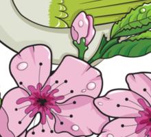 White-eye and sakura blossom - T-shirt Sticker