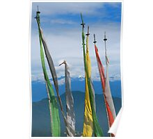 Prayer Flags on the Road in Bhutan Poster