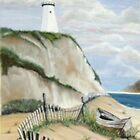 Lighthouse w/abandoned boat by Linda Bennett