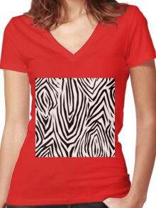Zebra skin pattern Women's Fitted V-Neck T-Shirt