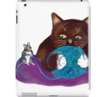 Blue Ball of Yarn for Mouse and Kitten iPad Case/Skin