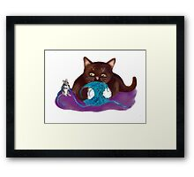 Blue Ball of Yarn for Mouse and Kitten Framed Print