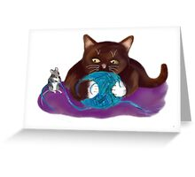 Blue Ball of Yarn for Mouse and Kitten Greeting Card
