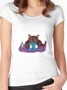 Blue Ball of Yarn for Mouse and Kitten Women's Fitted Scoop T-Shirt