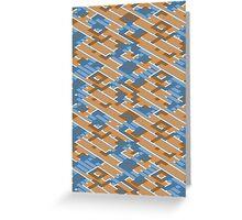 Geometric Lanes (Orange/Blue) Greeting Card