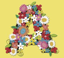 Whimsical Spring Flowers Alphabet A Kids Clothes