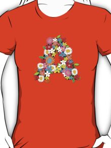 Whimsical Spring Flowers Alphabet A T-Shirt