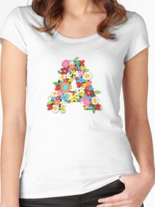 Spring Flowers Alphabet A Monogram Women's Fitted Scoop T-Shirt