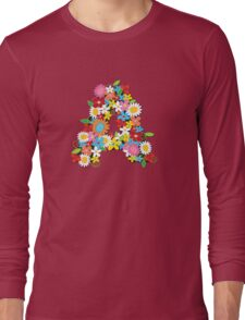 Spring Flowers Alphabet A Monogram Long Sleeve T-Shirt