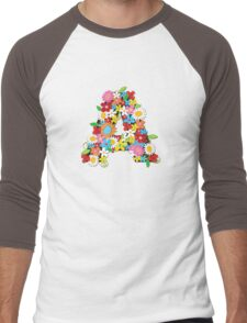 Spring Flowers Alphabet A Monogram Men's Baseball ¾ T-Shirt